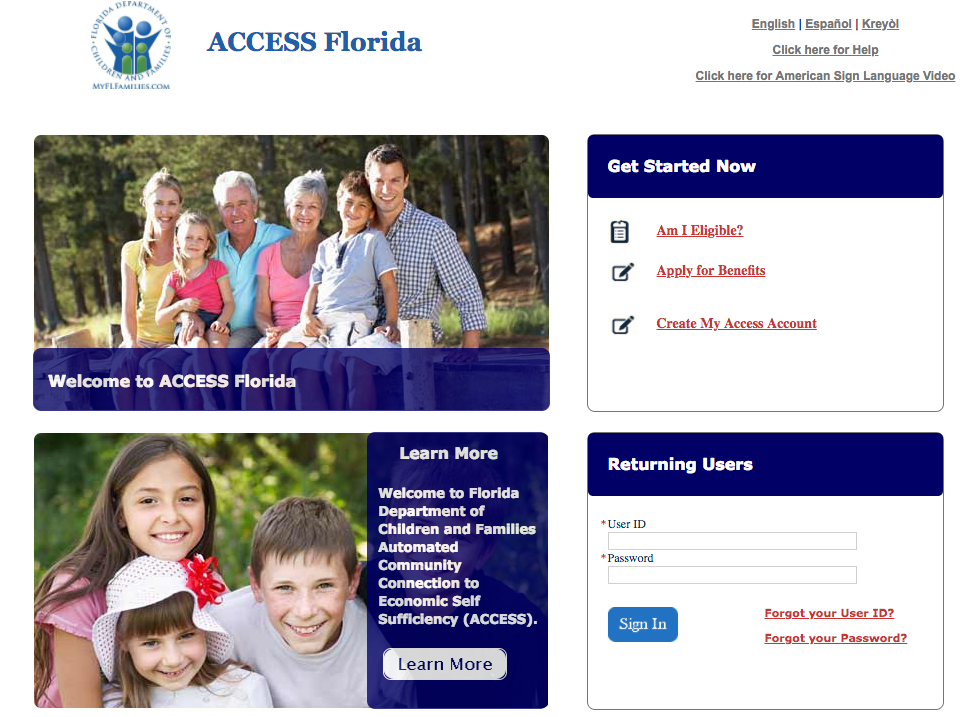 my access florida food stamp application